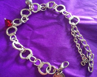 50 shades inspired silver bracelet with choice of Swarovski crystal grey steel