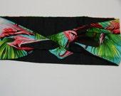 Flamingo headband reversible tie up pin up style