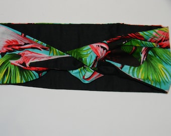 Flamingo headband reversible tie up pin up style