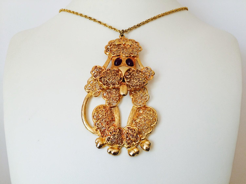 vintage poodle necklace gold purple by neutralnellies