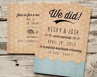 Beach Wedding Announcement, Wedding Announcements  - The Wave - postcard, Eloped, elopement announcement, Ocean, Destination Wedding