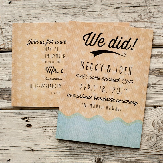 , Wedding AnnouncementsThe Wavepostcard, Eloped, elopement ...