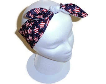 Womens Knot Headband, Patriotic Red, White and Blue, 4th of July, Flag Stars, Tie Headband, Bandanna Head Scarf,  Neck Scarf, Military Gift