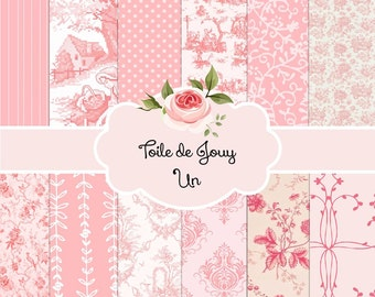 French Toile de Jouy Digital Paper Pack | Pink | Instant Download