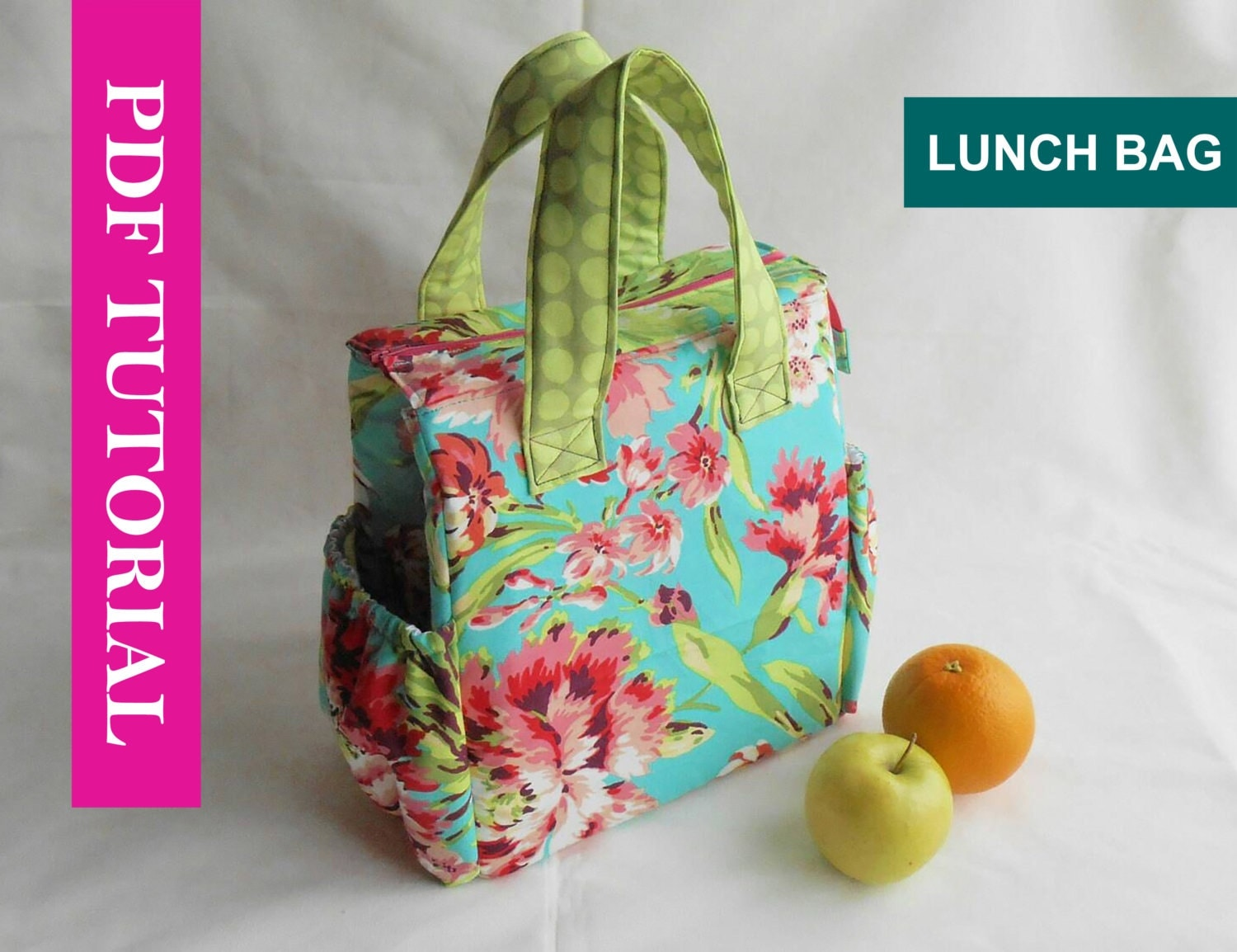 Insulated lunch bag pdf pattern tote sewing