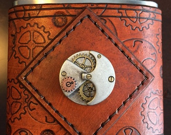 Steampunk Inspired Gears and Cogs Leather/Stainless 6 oz Flask