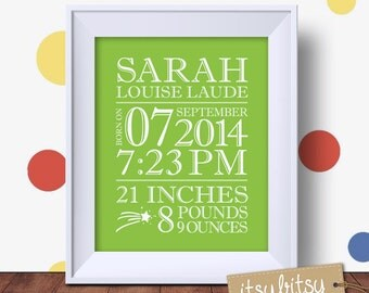 Personalized baby print, custom birth stats, birth announcement wall art, baby birth details, nursery decor, baby birth stats wall art