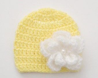 Yellow Crochet Flower Baby Hat, Newborn Baby Girl Hat, Yellow Newborn Girl Hat, Baby Girl Outfit, Newborn Hospital Girl Hat, Take Home Hat