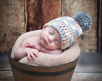Multicolored Pompom Baby Boy Hat, Beige Baby Hat, Pompom Newborn Hat, Pom Pom Baby Boy Hat, Photo Prop, Hats for Boys, Baby Boy Outfit, Hats