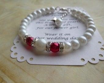 Flower Girl Bracelet, Flower Girl Gift, Flower Girl Jewelry, Pearl Flower Girl Bracelet, Pearl Childrens Bracelet, Pearl Childs Bracelet