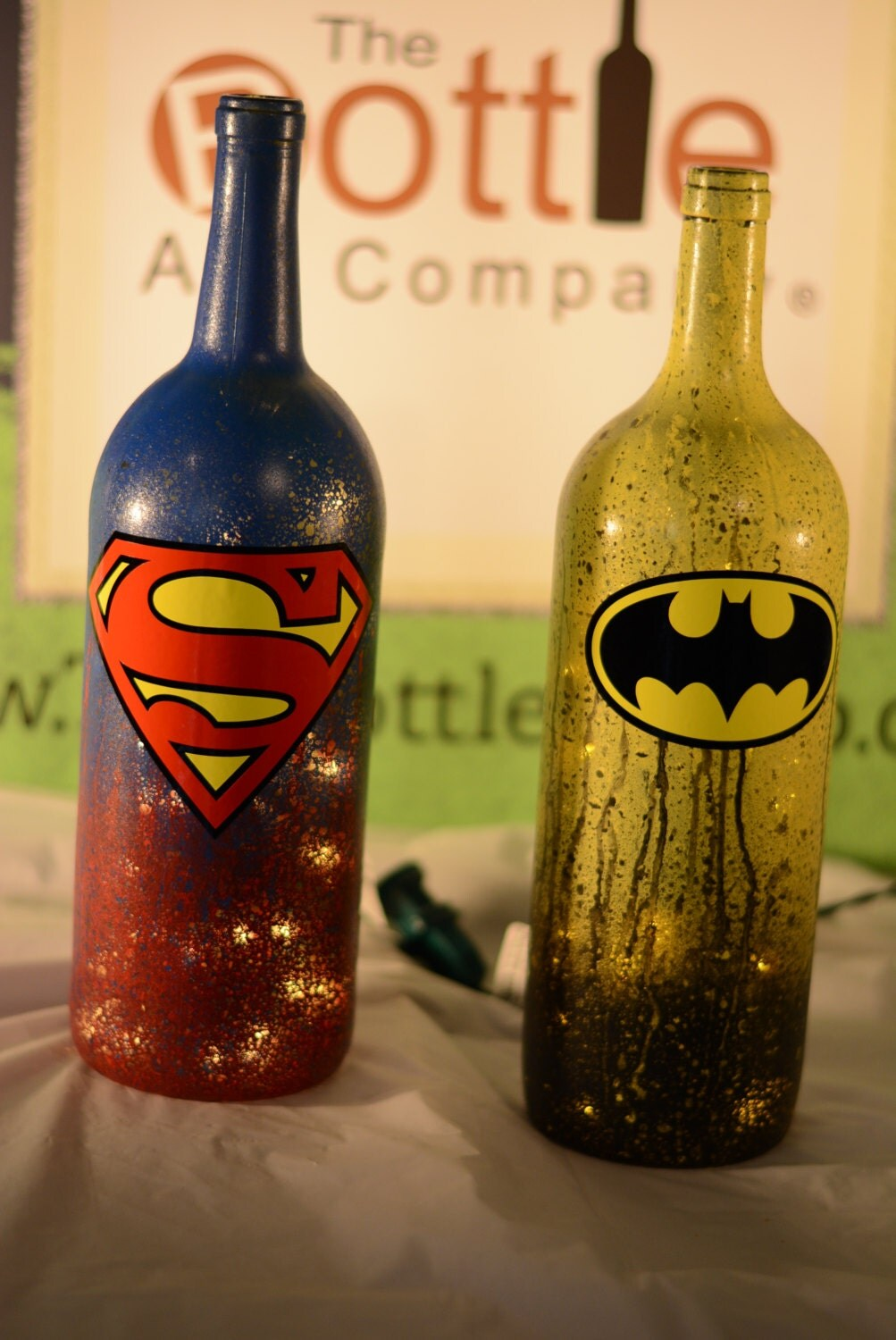 Superman batman superhero series league by thebottleartcompany for Lamps made out of wine bottles