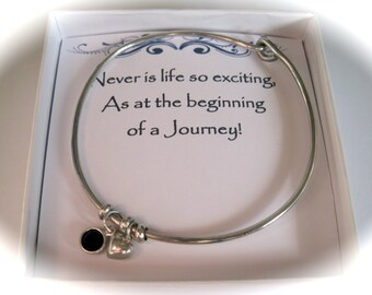 Sterling Silver Heart & Birthstone Bangle for a Leaving, Retirement or Graduation