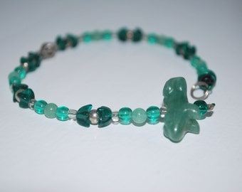 Green Adventurine Frog with Green Adventurine, Green Glass, and Silver Beaded Suncatcher