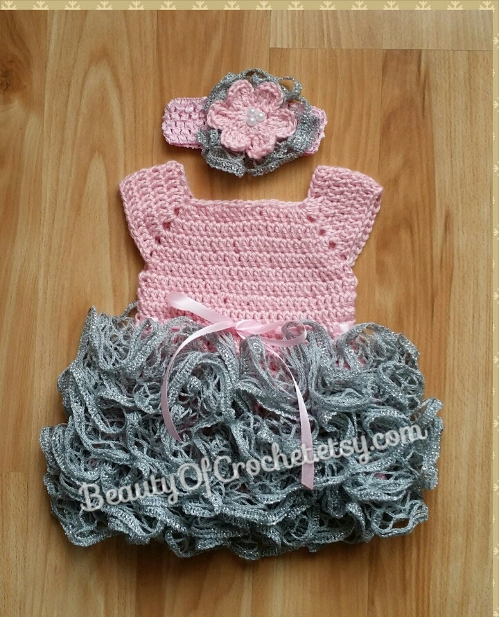Crochet baby girl tutu dress 0 3 months Newborn ruffle skirt