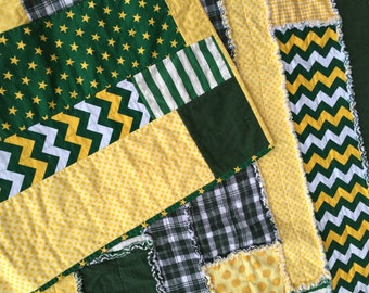 Baylor chevron, stripe & dot rag strip quilt