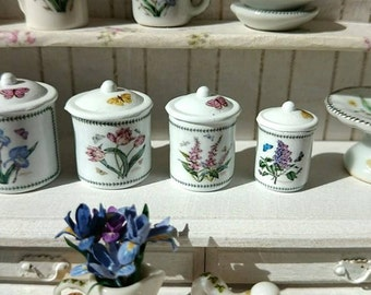 Dollhouse Miniature Kitchen Botanic Garden Metal Canisters in 1:12 Scale
