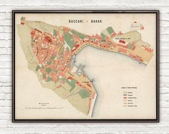 Old Map of Bakar 1861 Croatia