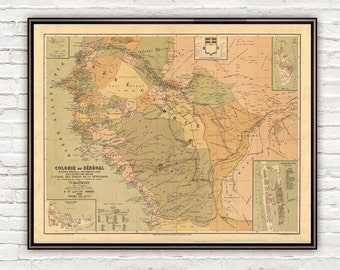 Old Map of  Senegal 1884 Vintage map