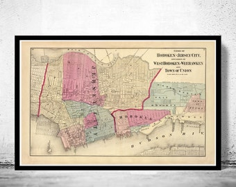 Old Map of Jersey City and Hoboken , Hudson County 1872
