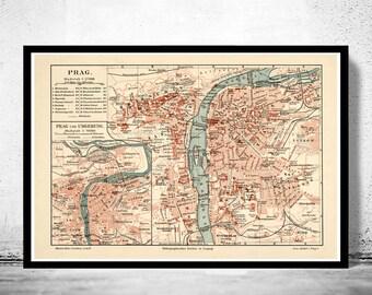 Old Map of Prague 1894  Czech Republic