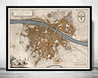 Old Map of Florence Firenze 1847 Antique Vintage Italy