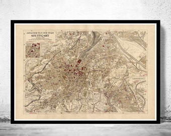 Old Map of Stuttgart, Germany 1925 Vintage map