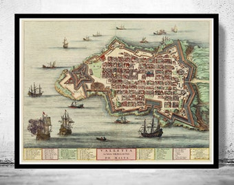 Old Map of Valletta Malta Island 1705