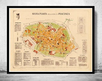Old Map of Piacenza 1882 Antique Vintage Italy