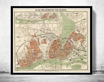 Old Map of Hamburg and Altona, Germany 1880