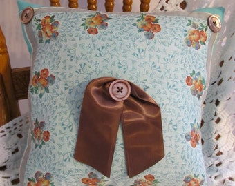 Aqua & Brown Handkerchief Pillow