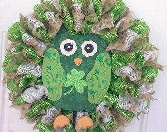 St. Patrick's Day Owl Wreath