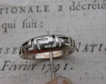French vintage art deco  sterling silver ring engaged  ring stamped engraved vintage carved ring size 6.5