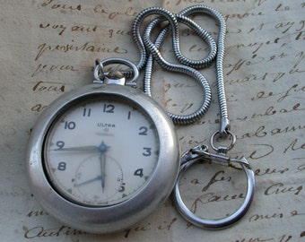 French antique  silver  pocket watch ornate engraved pocket watch box chain snake chain In Working condition