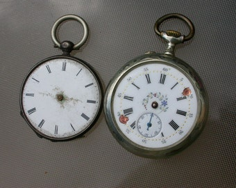 french 19th century Lot of 2pcs antique watches  Antique  Pocket Watch engarved  watch sterling silver bronze  necklace watch