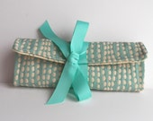 Jewelry Roll Organizer Bag for Travel or Gift  in Aqua and White Dots Monogram available