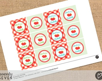 Strawberry Party. Printable Favor Tags