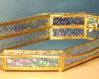 Colors Stained Glass and Brass Colors Vanity tray with Mirror