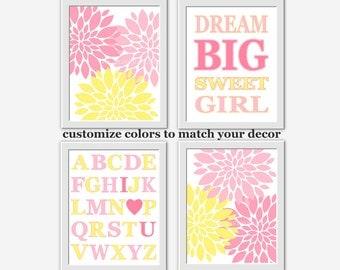 Baby Girl Nursery Art Pink Yellow Dahlia Mums ABC Dream Big Baby Girl Nursery Wall Decor Floral Nursery Prints Girl Room Decor Pink Flowers