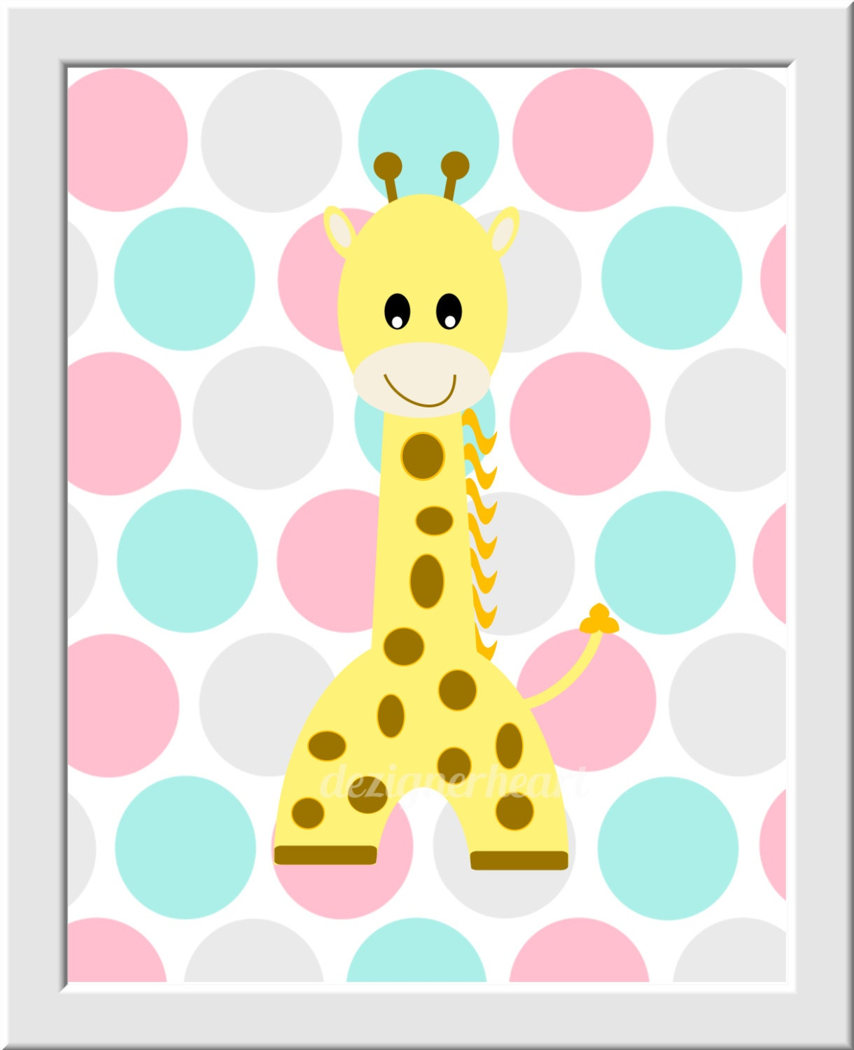 Baby Girl Nursery Wall Art Pink Yellow Aqua Gray Elephant Giraffe ...