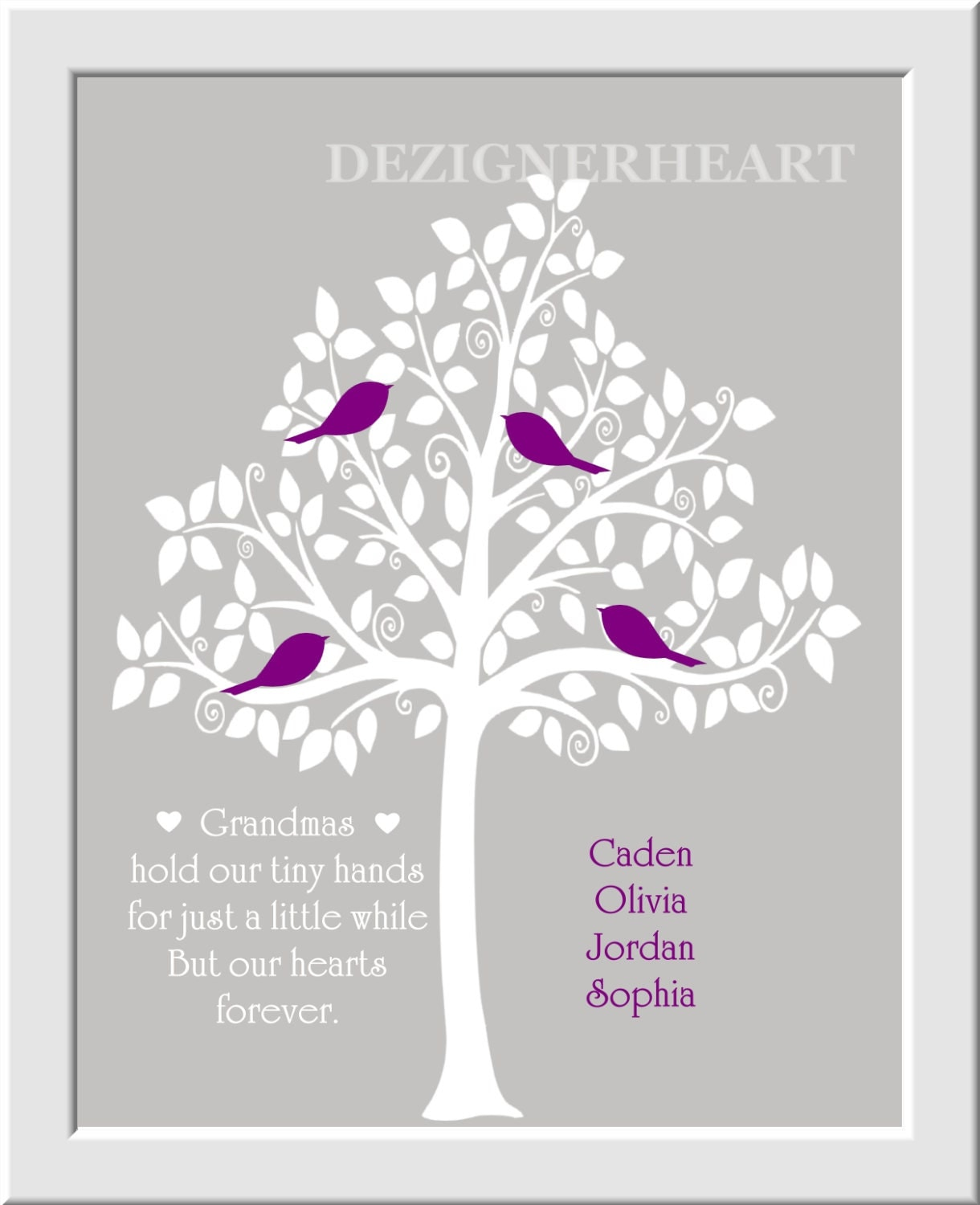 family tree personalized wall art grandma mothers day wall art. Black Bedroom Furniture Sets. Home Design Ideas
