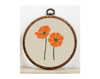 Orange Flower-Cross Stitch Pattern-Modern sampler-Pdf-Instant Download