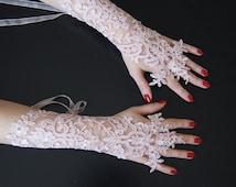 Powder color Wedding Grandeur luxury Wedding Gloves, Lace Wedding Accessory, Bridal accessory, Fingerless Gloves, vampire glove