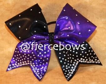 Purple and Black Pixie Dust Rhinestone Cheer Bow