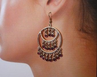 Garnet Chandelier Sterling Silver Earring, Real Garnet, Bohemian Tribal, Gypsy Earrings, January Birthstone Jewelry, Fun Statement Earring
