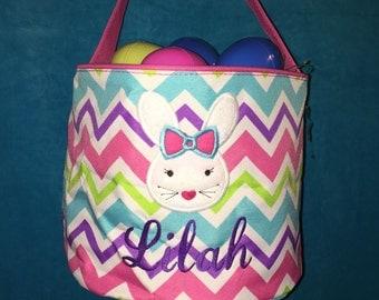 FAST SHIPPING!! Bunny Applique Chevron Easter Basket