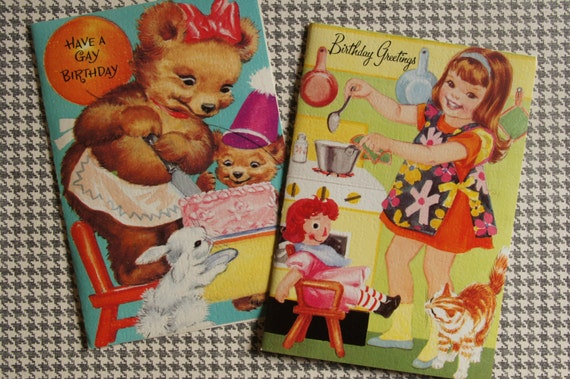 Children's Birthday Cards ~ Vintage Unused Set of 4 with Envelopes