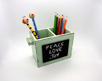Mint Green - Brown Desk Organizer - Shabby Pencil Holder with  Chalkboard -Home Decor- Office Gift