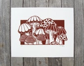 The Mushroom Patch Linocut Relief Printmaking Hand Printed Handmade