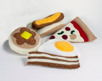 Play Food, Felt Food, Pretend Food, Busy Toddler Toy, Play Kitchen Food, Felt Pizza, Hot dog, Educational Toy, Felt Egg, Pretend Play