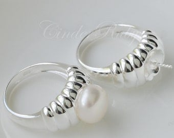 925 Sterling Silver,Single Accented Pearl Ring Setting,Ring Mounting with Pearl Peg,Hypoallergenic